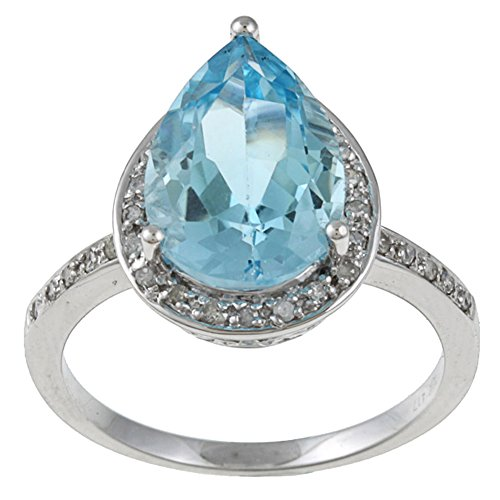 Instagems 10k White Gold Pear-Shape Blue Topaz and Diamond Halo Ring