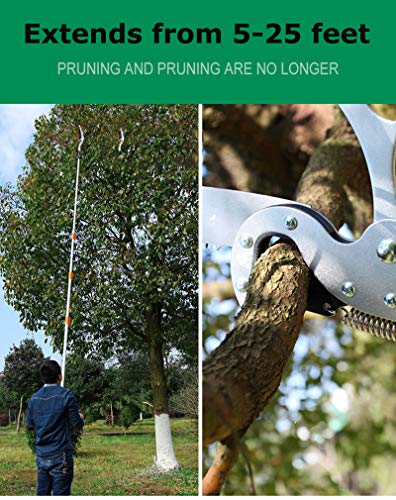 FSYD Extendable Manual Pole Saw and Tree Pruner Telescopic 5-25ft Landscaping Pole Pruner with Saw Blade for Pruning and Trimming Branches and Leaves