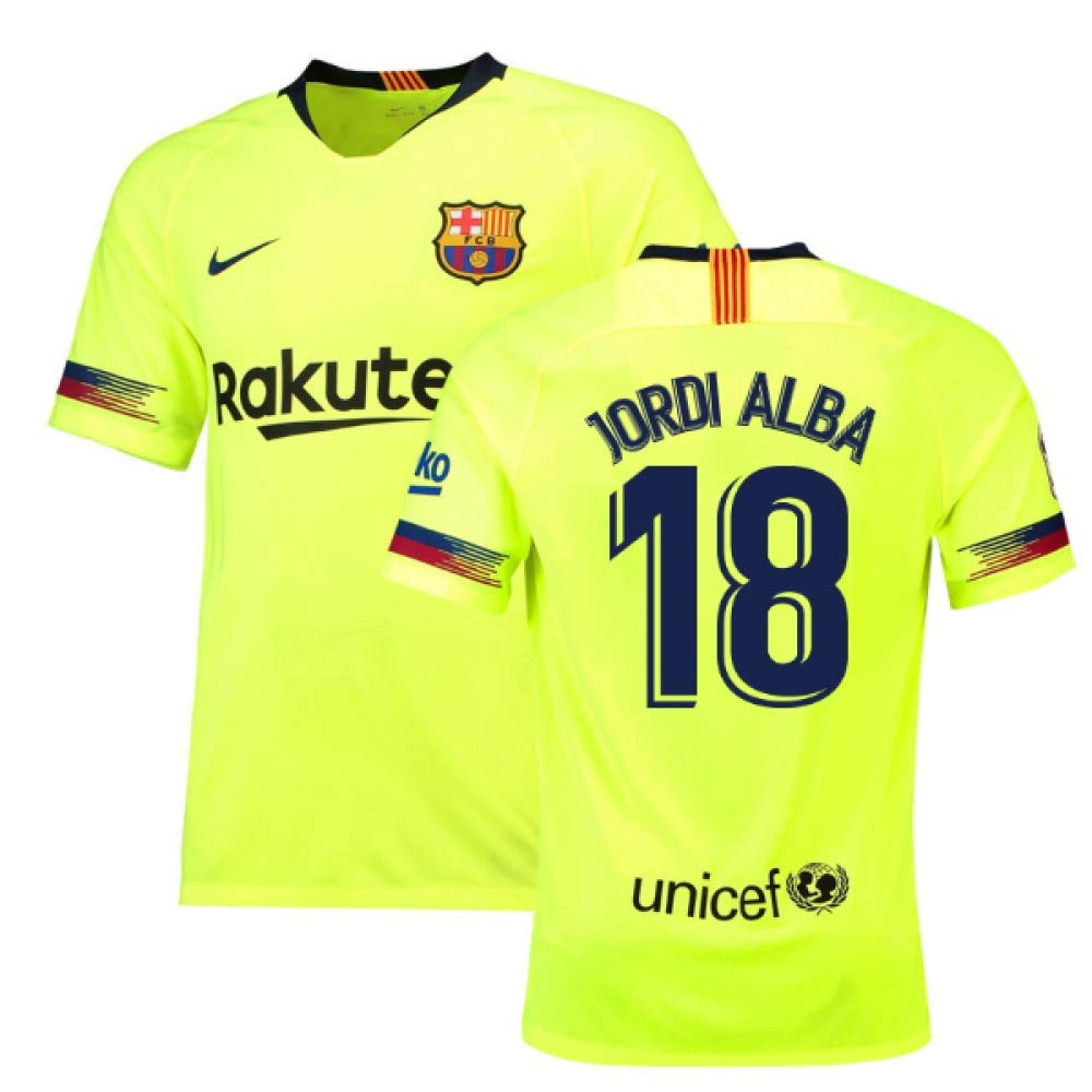 2018-19 Barcelona Away Football Soccer T-Shirt Trikot (Jordi Alba 18) - Kids