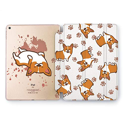 Wonder Wild Corgi Paws Print Case IPad 9.7 2017 A1822 A1823 2018 A1893 A1954 Air 2 A1566 A1567 6th Gen Clear Design Smart Hard Cover Dog Orange Texture Animals Bright ()