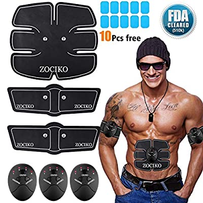 zociko ABS Stimulator Muscle Toner, Abdominal Toning Belt Portable Muscle Trainer Body Muscle Fitness Trainer 6 Modes & 10 Levels Simple Operation for Abdomen/Arm/Leg Training Men Women
