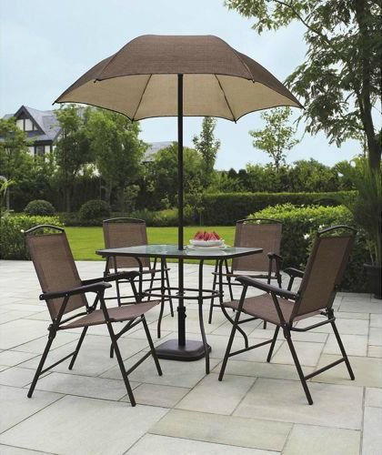 Sand Dune 6-Piece Patio Dining Set with - Mainstays Umbrella