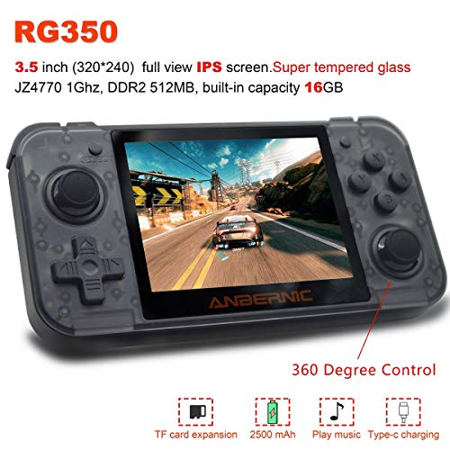 2019 Upgraded Opening Linux Tony System Handheld Game Console with 2500 Games 3.5inch IPS Screen , Retro Game Console with 32G TF Card Built Classic Games Portable Video Game Console (T-black)