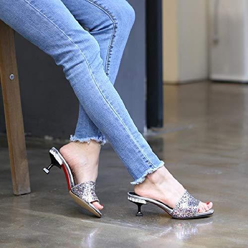 Forty Cuarenta Rosa Mujer lentejuelas Hbdlh Hermosos Zapatillas Mujer Color Verano Zapatos De SnwPgxFa