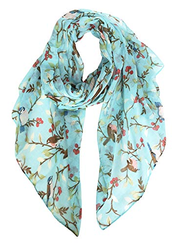 Floral Voile Dress - GERINLY Spring Lightweight Floral Birds Print Shawl Wraps Dress Scarf Belt (Turquoise)