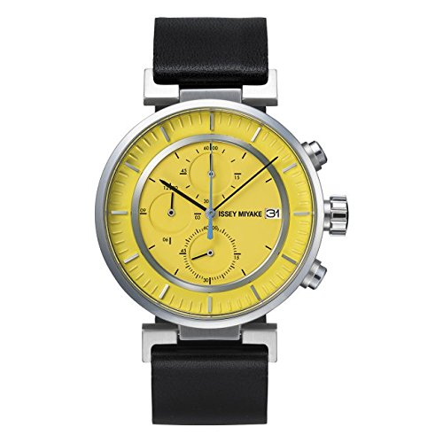 Issey Miyake W Yellow Face Black Band Watch SILAY010
