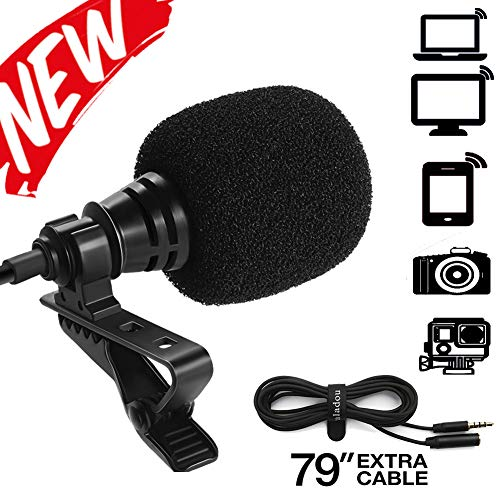 Paladou Lavalier Microphone for iPhone Android Smartphones Recording/Video Conference/Studio/Interview/Youtube/Podcast/Voice Dictation/3.5mm Lapel Mic ()