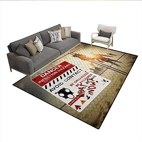 Carpet,Dead Man Walking in Dark Danger Scary Scene Fiction Halloween Infection Picture,Area Silky Smooth Rugs,MulticolorSize:6'x9' ()