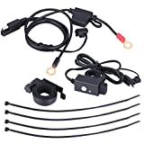 Keenso Universal Motorcycle SAE to USB Cable Adapter 12V-24V 2.1A Waterproof Dual Port Power Socket, Table, GPS