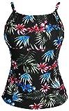 Gabrielle-Aug Women's Retro Sailor Stripe Floral Sporty Tankini Top Swimsuit (FBA) (Black&Floral, 14)