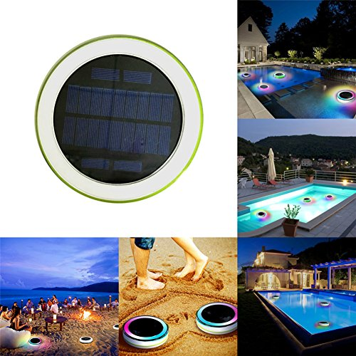 cheerfullus 1PCS Solar LED Swimming Pool Lights Remote Control Outdoor RGB Solar Floating Lights Hotel Fountain LED Lights 7 Colors Adjustable by cheerfullus