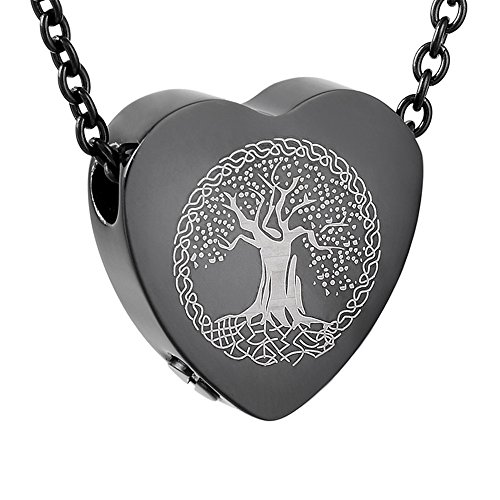 Black Sliders Pendant - Personalized Engraved Tree Of Life Cremation Urn Necklace Jewelry -Slider Heart Memorial Pendant (Black)