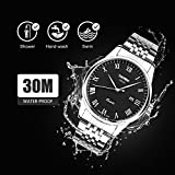 Mens Roman Numeral Stainless Steel Watch, Analog Quartz Unique Dress Wrist Watch Waterproof Business Casual, Key Scrath Resitant Face and Classic Calendar Date Window 30M 3ATM Water Resistant - Black