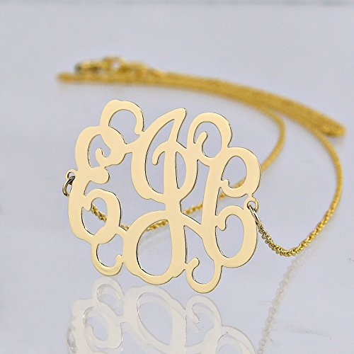3 Initials Monogram Sideway Necklace 10K or 14K Solid Gold 1 Inch Monogrammed Gift GM31E by Soul Jewelry Inc