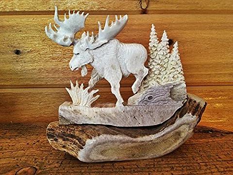 The Big Bull Moose Antler Carving - Antler Carving