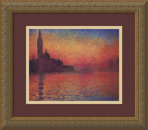 Framed Art Print, 'Dusk, Sunset in Venice, 1908' by Claude Monet: Outer Size 16 x 14