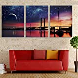 LIUXIAOYAN So Crazy Art Blue 3 Piece Wall Art Painting Frozen River Sunset Tree Prints On Canvas The Picture Landscape Pictures Oil For Home Modern Decoration Print Decor For Boys Bedroom