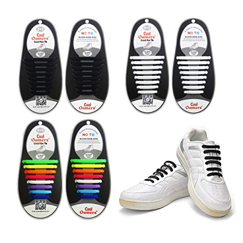 Oumers 3 Pairs Lazy No Tie Silicone Shoelaces, Rubber Elastic Slip Sneaker Shoe Laces Running Shoelaces Athletic Shoe Laces 16pc/Pair, 1 Pair Black + 1 Pair White + 1 Pair Multi Color