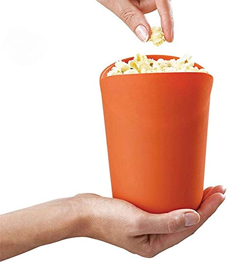 Opfury - Palomitero para microondas (palomitas de silicona, plegable, con tapa), color naranja: Amazon.es