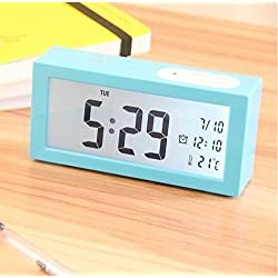 Ayzr Creative Alarm Clock New Smart Lamp Adjustable Volume Brightness Bedroom Living Room Study Lounge Clock,Blue