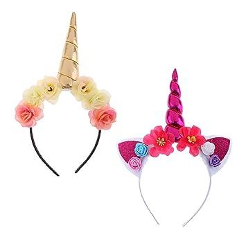 Einhorn Horn Haarreif Blumen Stirnband Haarband Haar Accessoire Party