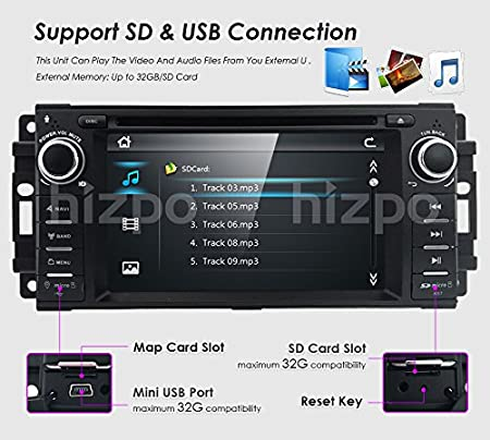 hizpo Car GPS Navigator Car Stereo DVD Player for Jeep Wrangler Chevrolet  Dodge Chrysler Head Unit Single Din 6 2 Inch Touch Screen Indash Radio 3G