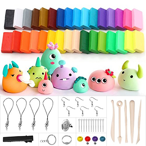 UBEGOOD Polymer Clay Starter Kit, 32 Colors Oven Bake Modeling Clay Set,Non-Toxic DIY Soft Air Dry Clay, with Tools Accessories, Best Gift for Kids by UBEGOOD