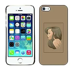 iPhone 5 / 5S , Brunette Portrait - Cáscara Funda Case Caso De Plástico