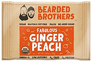 Bearded Brothers Ginger Peach Whole Food Energy Bar - Paleo, Gluten Free, Soy Free, Vegan, Non-GMO, Organic, Low Glycemic, Great source of protein and fiber (12-Pack)