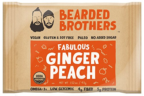 Bearded Brothers Ginger Peach Whole Food Energy Bar   Paleo  Gluten Free  Soy Free  Vegan  Non Gmo  Organic  Low Glycemic  Great Source Of Protein And Fiber  12 Pack
