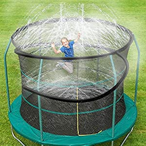ARTBECK Trampoline Sprinkler, Outdoor Trampoline Water Play Sprinklers for Kids, Fun Water Park Summer Toys Trampoline Accessories ( 39 ft, Black )