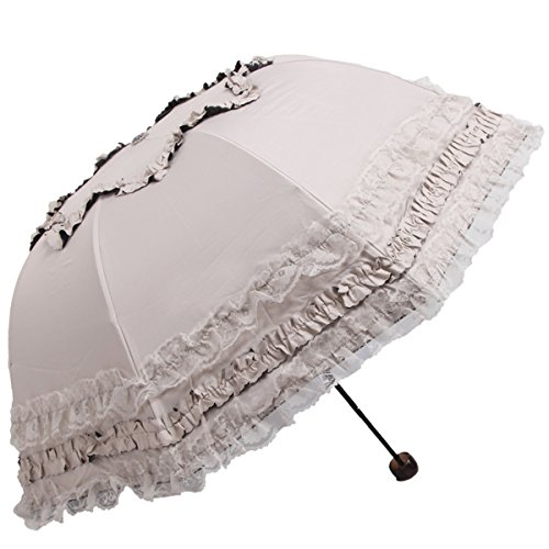 Adorable Lace Princess Ultralight Sun / Rain Umbrella Anti-UV Umbrella Triple Folding UV Protected Parasol