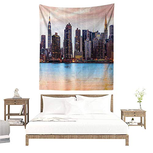alisoso Large Wall Tapestry,New York,Manhattan Skyline Midtown View from The Lake USA American City Artsy Picture,Peach Blue Mauve W51 x L60 inch Living Room Bedroom Dorm Decor]()