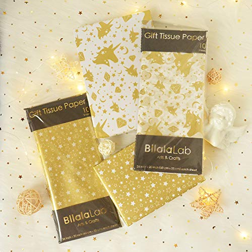 Unicorn & Star Pattern Tissue Gift Wrap Paper 40 Sheets Metallic Gold Premium Quality Recyclable Bulk, 26″ x 20″, for DIY Art Craft Decoration, Wedding Bridal Birthday Party Baby Shower by BllalaLab