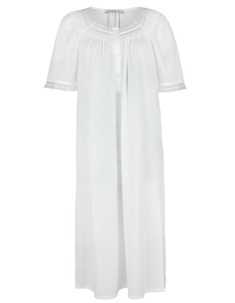 Feraud Champagne Cotton Short Sleeve Nightdress With Lace Neckline 3883120-10044 10 UK/36 EU by Feraud (Image #2)