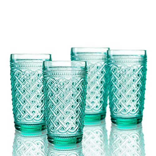 Beverage Highball (Elle Decor 229807-4HBGR Bistro Ikat Set of 4 Highballs, Green-Glass Elegant Barware and Drinkware, Dishwasher Safe, 13 oz)