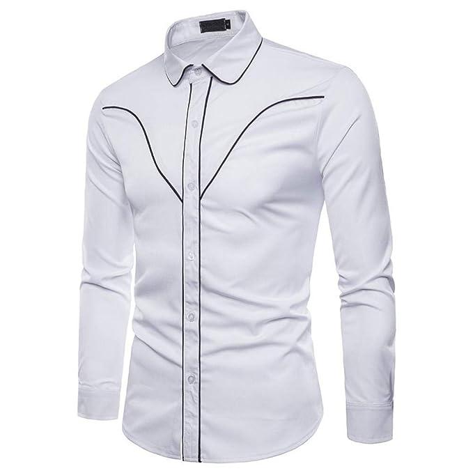 2018 Otoño Camisa De Manga Larga para Hombre Camisa de Rayas Negro/Rojo /Blanco