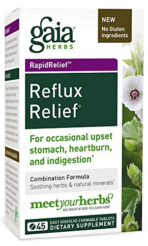 Gaia Herbs Reflux Relief Vegan Tablets, 45 Count - Helps Upset Stomach, Heartburn & Acid Indigestion