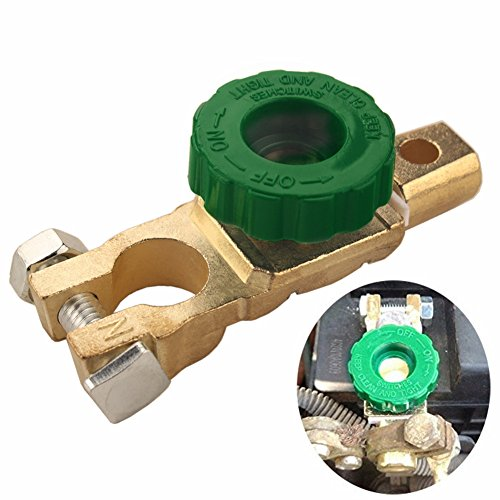 Dewhel Battery Master Disconnect Cut Off Switch Brass Twist of knob disconnects power For Top Post car truck boat or RV battery