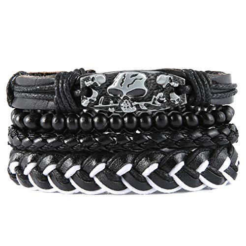 - HZMAN Mix 4 Wrap Bracelets Men Women, Hemp Cords Wood Beads Ethnic Tribal Bracelets, Leather Wristbands (SZ801049)