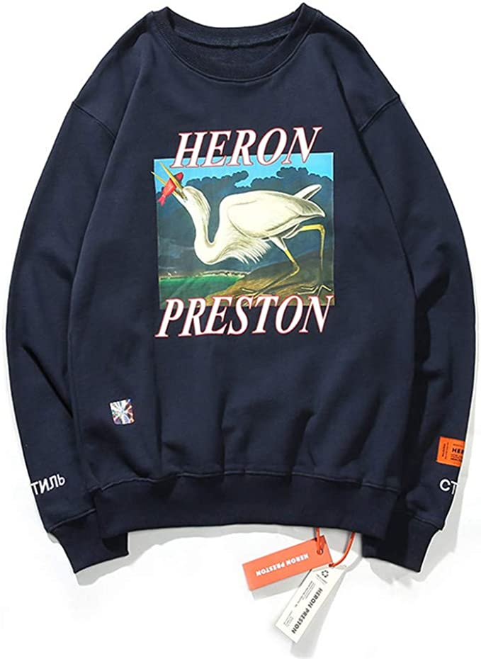 Keren HP Crane Pattern Oversize Loose Pullover Felpa per uomo e donna