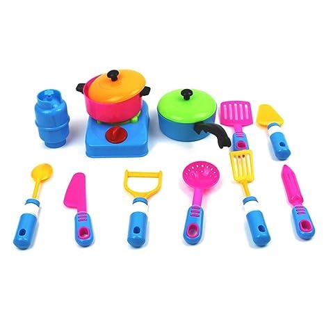 RemeeHi 12 Piezas plástico Juego de ollas y sartenes de Cocina Utensilios de Cocina de Juguete