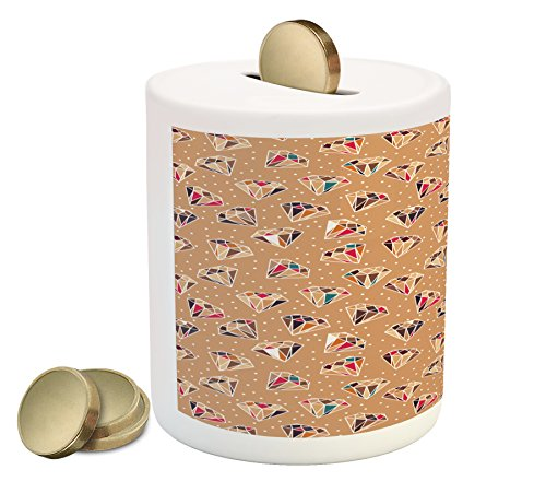 Ambesonne Retro Coin Box Bank, Colorful Diamond Gemstone Shapes on a Pale Brown Background with White Polka Dots, Printed Ceramic Coin Bank Money Box for Cash Saving, Multicolor (Cafe Brown Diamond Diamond)