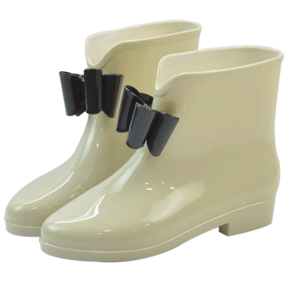 Women's Waterproof Rubber Jelly Anti-Slip Rain Boot Buckle Ankle High Rain Shoes B01J7EX5G0 7.5 B(M) US|Apricot Bowknot