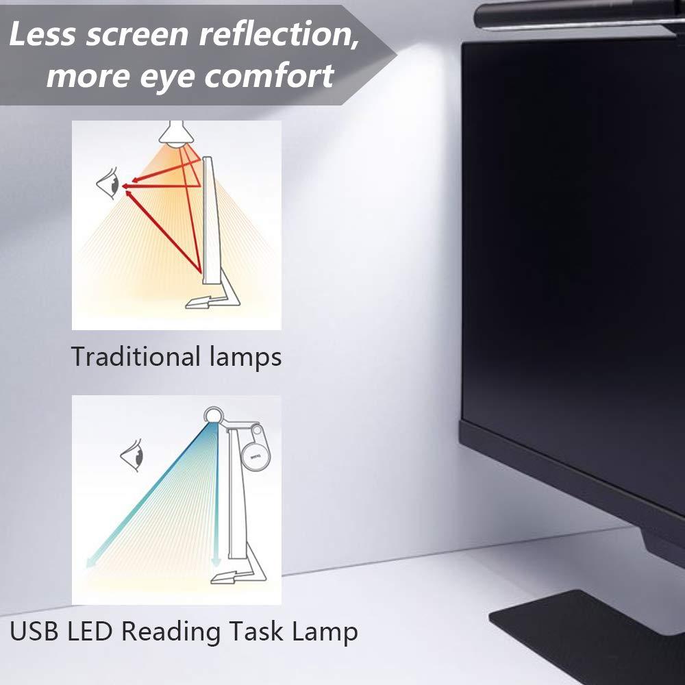 risparmio di spazio per computer lampada da ufficio per proteggere gli occhi Anpro alimentata tramite USB lampada a LED per lettura e-reading con 3 colori dimmerabili