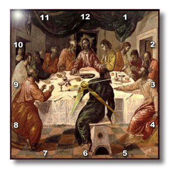 3dRose dpp_100917_3 Picture of El Grecos Oil Painting of The Last Supper-Wall Clock, 15 by (Greco Painting)