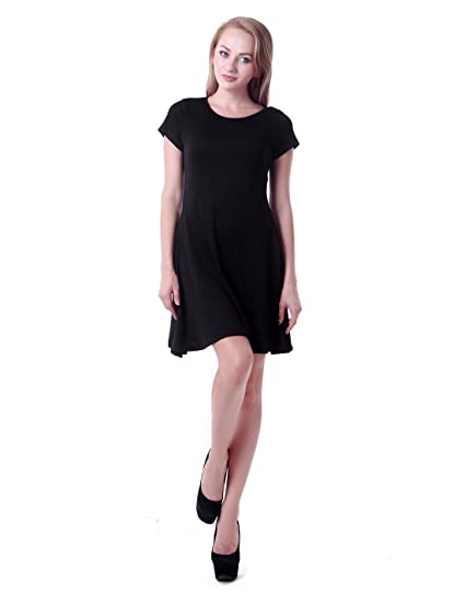 2bc6e917d5 HDE Women s Casual Cotton Jersey Knit Short Sleeve Slip-On Mini Skater Dress  (Black) at Amazon Women s Clothing store