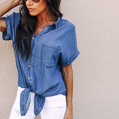 Pullover Denim Scuro Top Felpa Donna Camicia Camicetta Morbido Estate LiucheHD V Corta Coreana Manica Blu Casual Scollo In Elegante a FT1qnw0