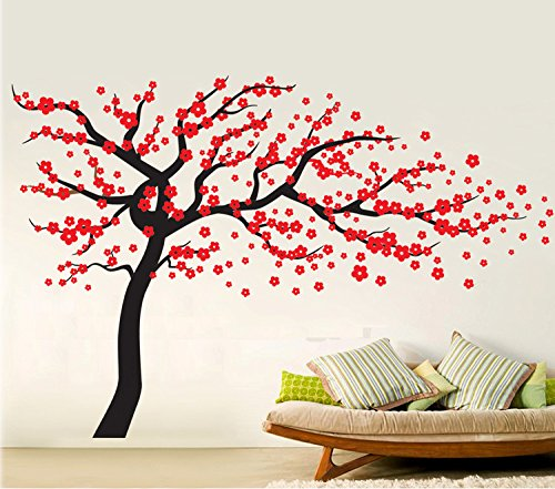 Fymural Plum Blossom Tree Wall Sticker Vinyl Removable for Livingroom Kid Baby Nursery Home Mural Paper DIY Decals 102.4x66.9,Black+Red