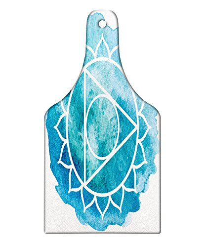Lunarable Chakra Cutting Board, Watercolored Original Chakra Figure Brushstroke Setting Esoteric Meditation Concept, Decorative Tempered Glass Cutting and Serving Board, Wine Bottle Shape, Blue White by Lunarable